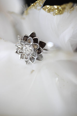 White gold lotus ring with moissanite - Eden Garden Jewelry