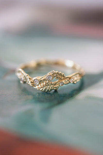 Twig ring with diamonds and three leaves, branch wedding band - Eden Garden Jewelry™
