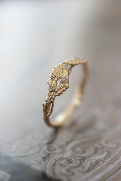 Twig ring with diamonds and three leaves, branch wedding band - Eden Garden Jewelry
