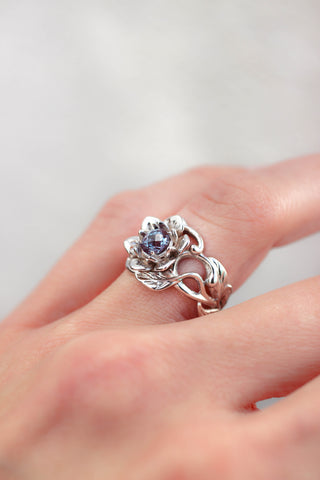Flower engagement ring with alexandrite / Rosalia - Eden Garden Jewelry™