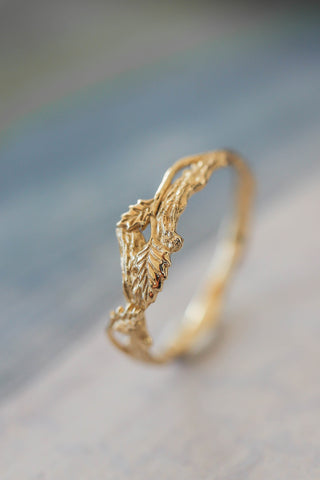 Branch wedding band, small wedding ring - Eden Garden Jewelry