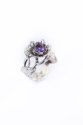 Amethyst flower engagement ring / Rosalia - Eden Garden Jewelry