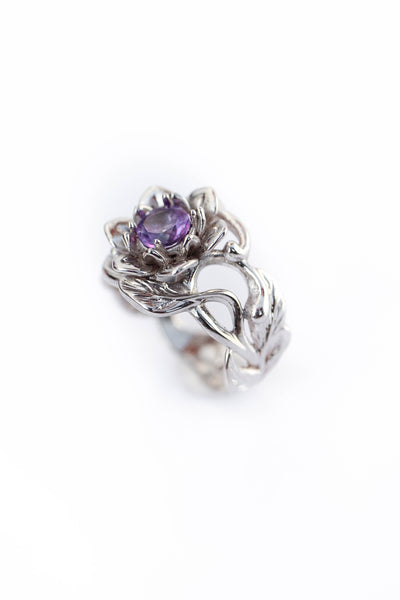 Amethyst flower engagement ring / Rosalia - Eden Garden Jewelry™