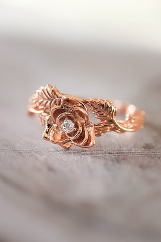 Rose flower ring, diamond engagement ring - Eden Garden Jewelry™