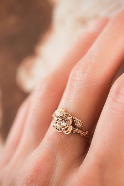 Rose flower ring, diamond engagement ring - Eden Garden Jewelry