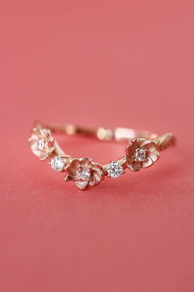 Bridal set with fancy cut pink topaz and diamonds - Eden Garden Jewelry™