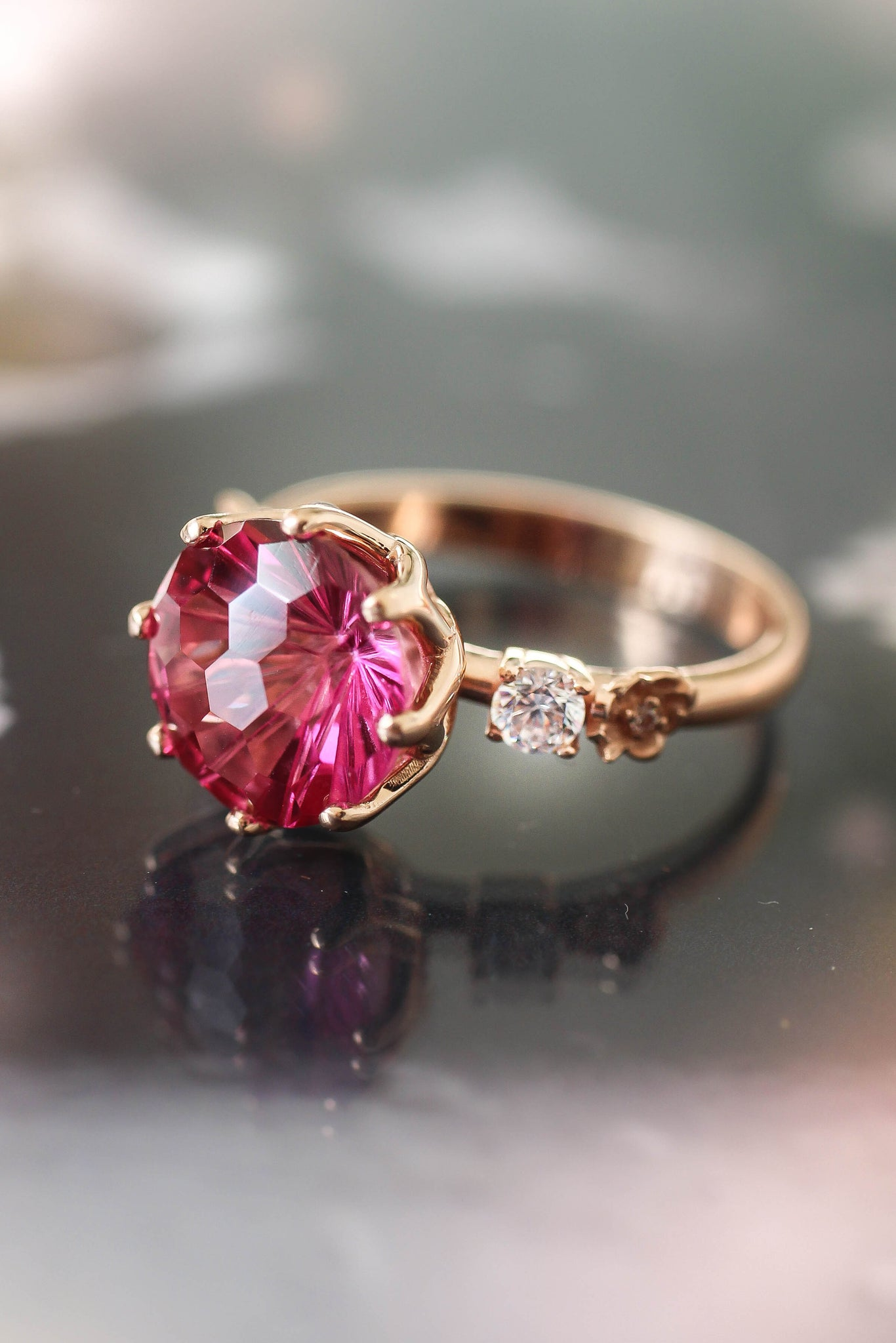 Fancy cut pink topaz engagement ring - Eden Garden Jewelry™