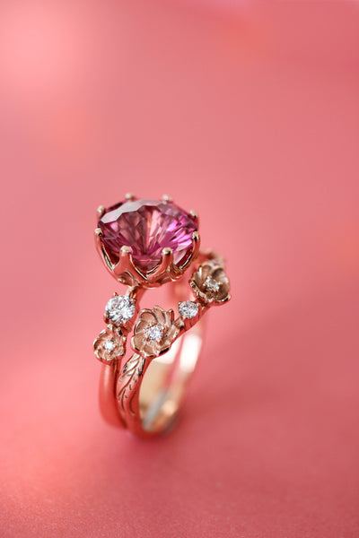 Bridal set with fancy cut pink topaz and diamonds - Eden Garden Jewelry