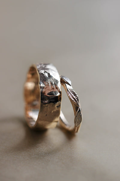 Rustic wedding bands set, gold nature rings for man and woman - Eden Garden Jewelry