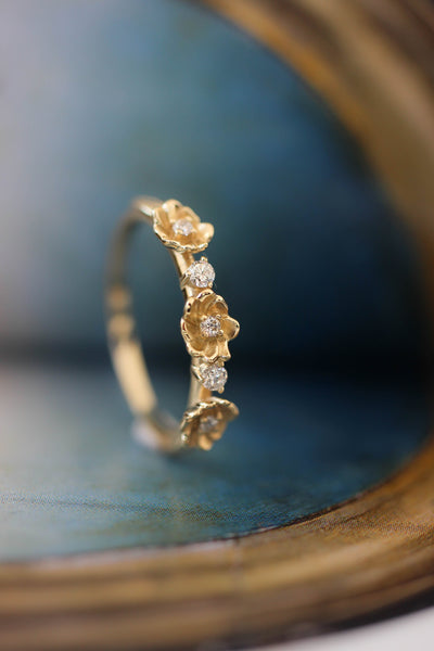 Three flowers wedding band, diamond ring - Eden Garden Jewelry