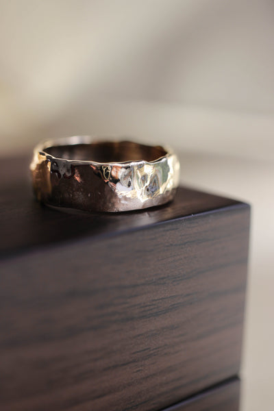 Wide wedding band for man, melted ring - Eden Garden Jewelry™