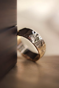 Wide wedding band for man, melted ring
