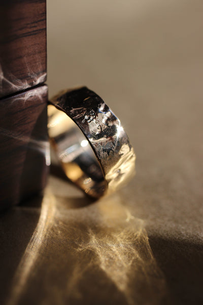 Wide wedding band for man, melted ring - Eden Garden Jewelry