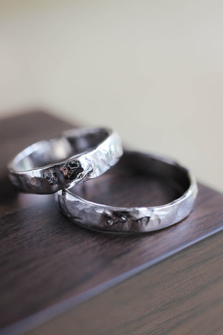 Wedding rings set for man and woman, white gold