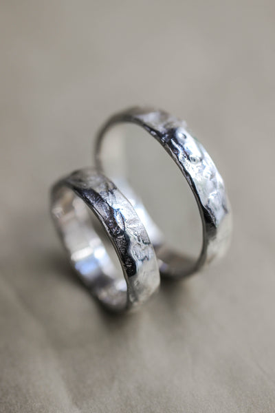 Wedding bands set for couple, textured rings - Eden Garden Jewelry