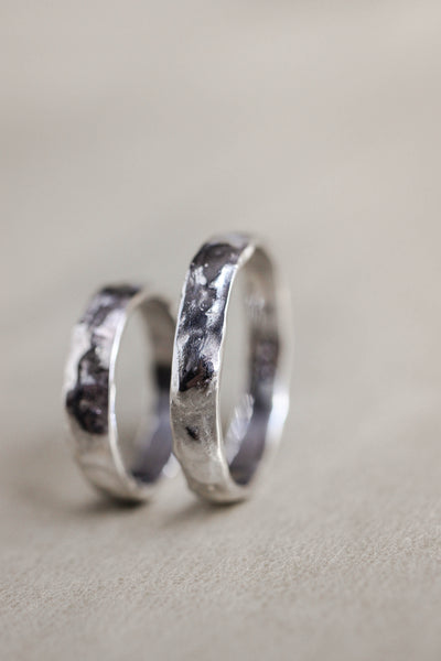 Wedding rings set for man and woman, white gold - Eden Garden Jewelry