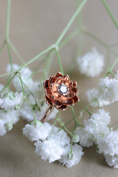 Lotus ring with diamond, flower engagement ring - Eden Garden Jewelry
