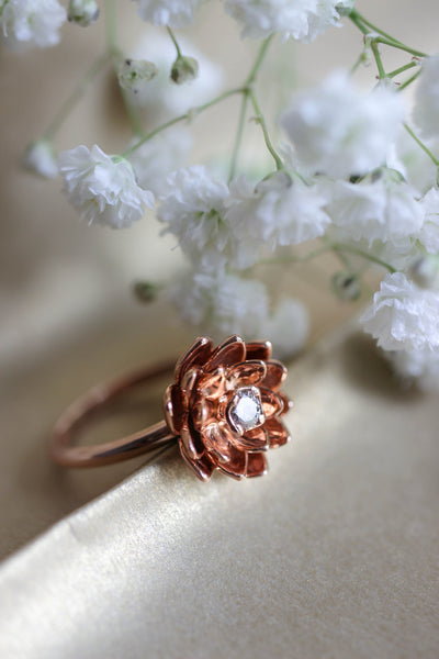 Lotus ring with diamond, flower engagement ring - Eden Garden Jewelry™