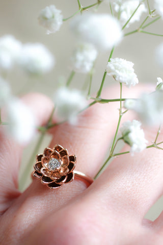 Lotus ring with diamond, flower engagement ring