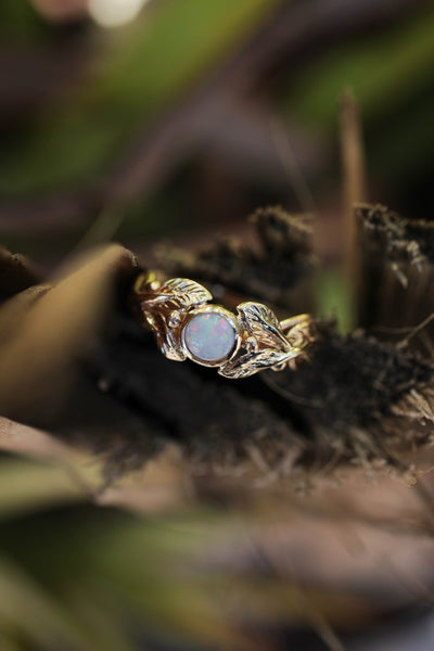 Round opal engagement ring, leaves band / Tilia - Eden Garden Jewelry