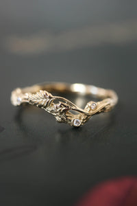 Branch wedding band with diamonds / matching band for rose ring - Eden Garden Jewelry