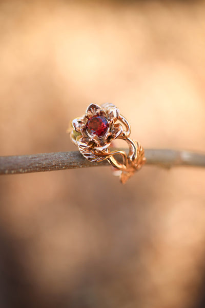 Red garnet flower engagement ring / Rosalia - Eden Garden Jewelry