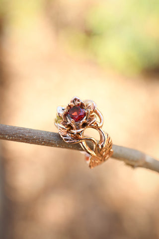 Red garnet flower engagement ring / Rosalia - Eden Garden Jewelry™