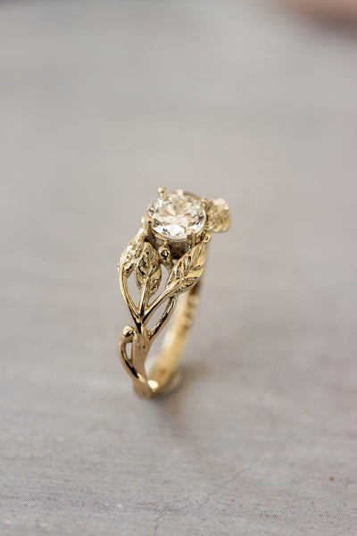 Natural diamond engagement ring, leaf ring / Tilia, 5mm - Eden Garden Jewelry