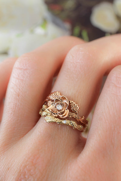 Bridal ring set with rose flower and diamonds - Eden Garden Jewelry