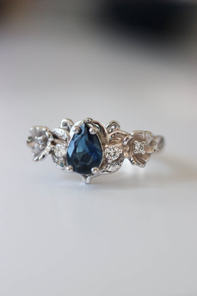 Blue sapphire and diamonds ring, flower engagement ring / Adelina - Eden Garden Jewelry™