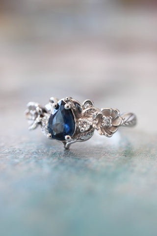 Blue sapphire and diamonds ring, flower engagement ring / Adelina
