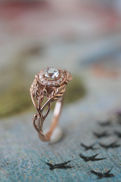 Leaf engagement ring with natural diamonds / Tilia halo - Eden Garden Jewelry™