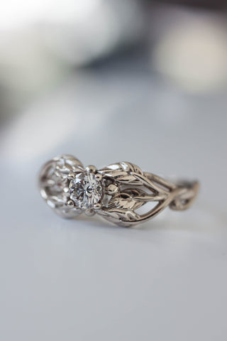 Diamond engagement ring, leaf ring / Tilia ver2 - Eden Garden Jewelry