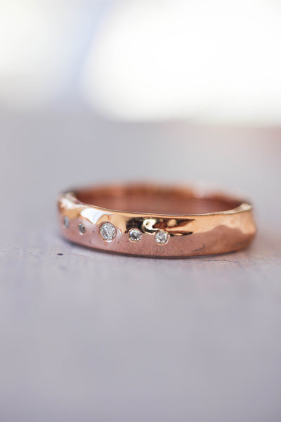 Organic wedding band with five diamonds, unisex ring - Eden Garden Jewelry