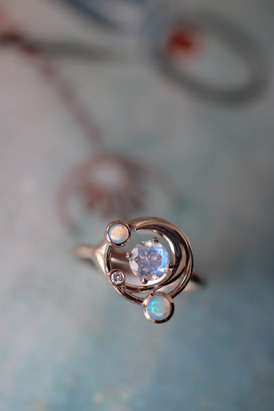 Crescent moon engagement ring with moonstone, opals and diamond - Eden Garden Jewelry