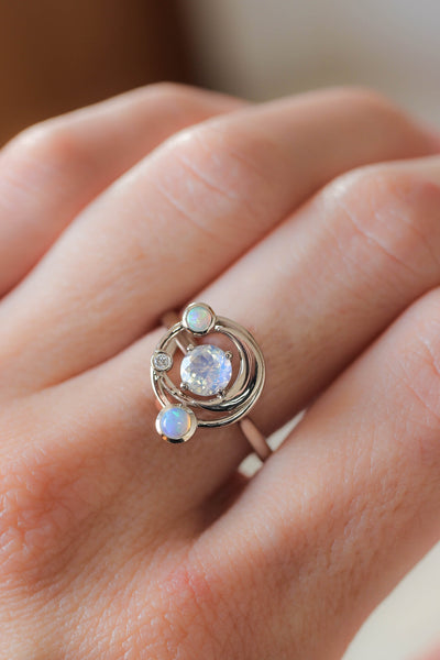 Crescent moon engagement ring with moonstone, opals and diamond - Eden Garden Jewelry™