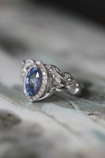 Custom engagement ring with marquise cut sapphire - Eden Garden Jewelry