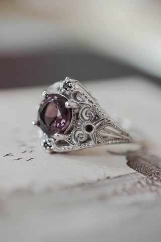 Purple spinel and black diamonds ring, stars engagement ring - Eden Garden Jewelry™