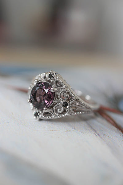 Purple spinel and black diamonds ring, stars engagement ring - Eden Garden Jewelry