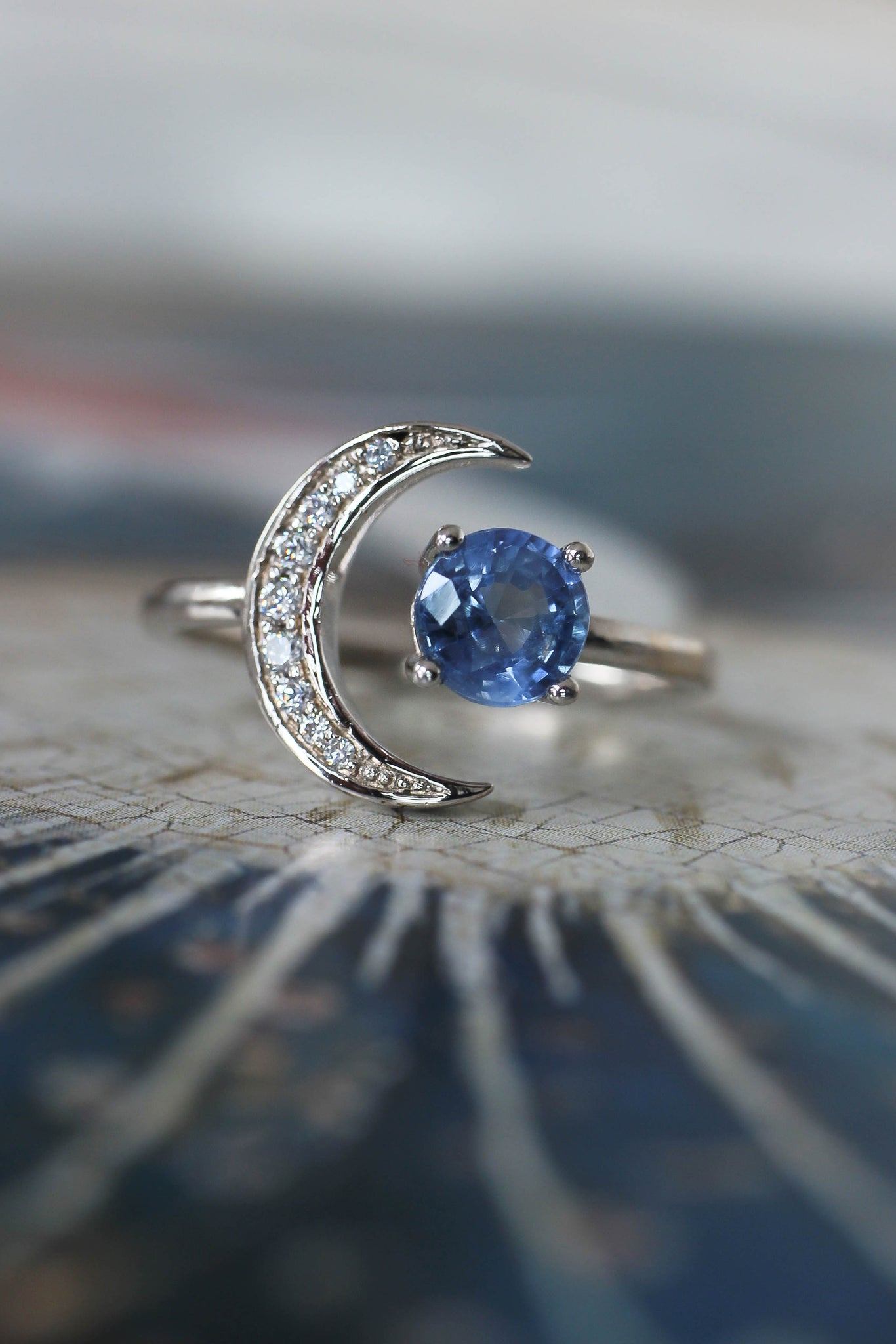 Crescent moon engagement ring with sapphire and diamonds - Eden Garden Jewelry