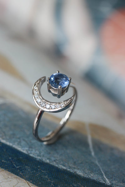 Crescent moon engagement ring with sapphire and diamonds - Eden Garden Jewelry™