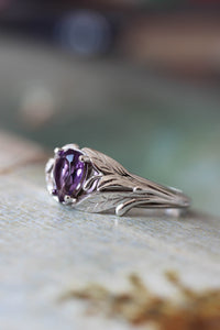 Amethyst engagement ring, leaf ring / Wisteria - Eden Garden Jewelry