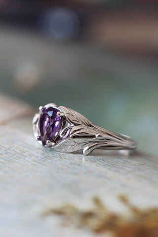 Amethyst engagement ring, leaf ring / Wisteria