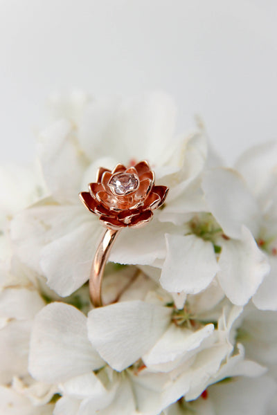 Morganite engagement ring, lotus flower ring - Eden Garden Jewelry