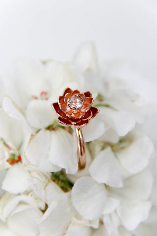Morganite engagement ring, lotus flower ring - Eden Garden Jewelry™