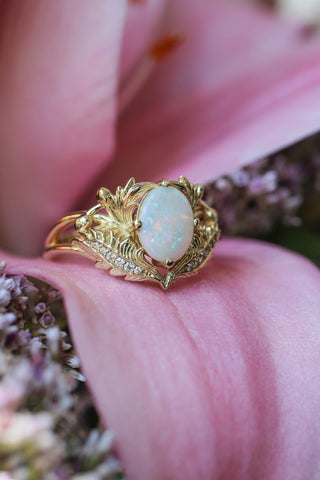 Opal and diamonds engagement ring / Adonis - Eden Garden Jewelry