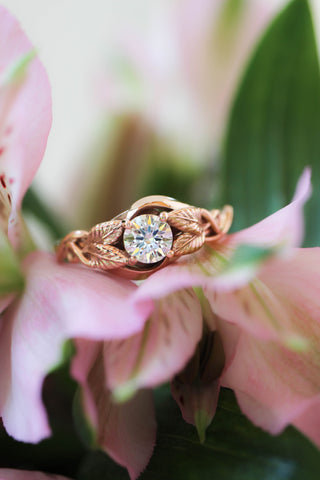 Moissanite leaf engagement ring / Azalea - Eden Garden Jewelry