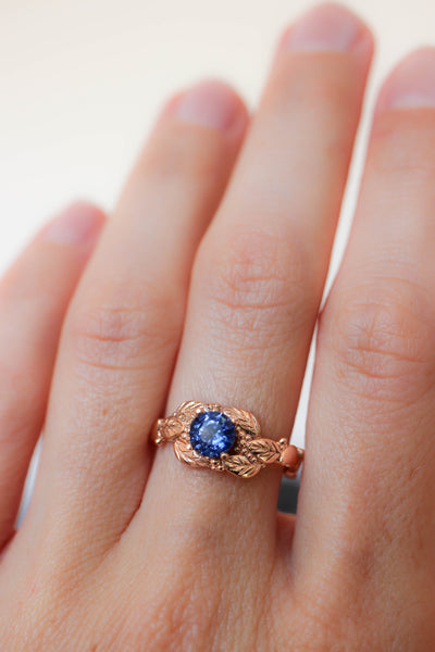 Leaves and grains ring, sapphire engagement ring - Eden Garden Jewelry