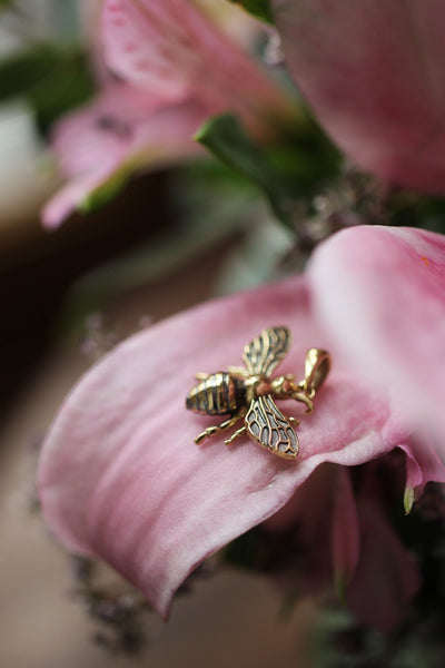 Gold bee pendant - Eden Garden Jewelry