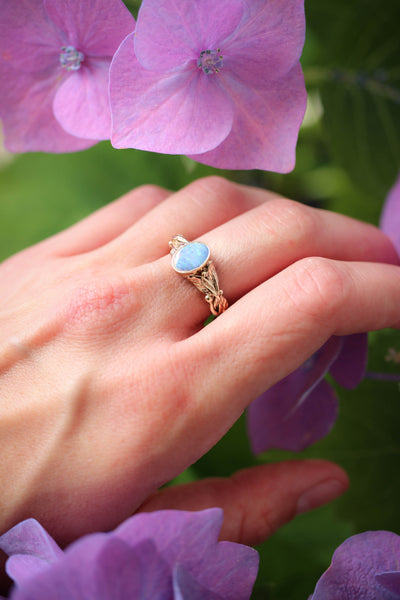 Blue opal engagement ring, leaves band / Cornus - Eden Garden Jewelry